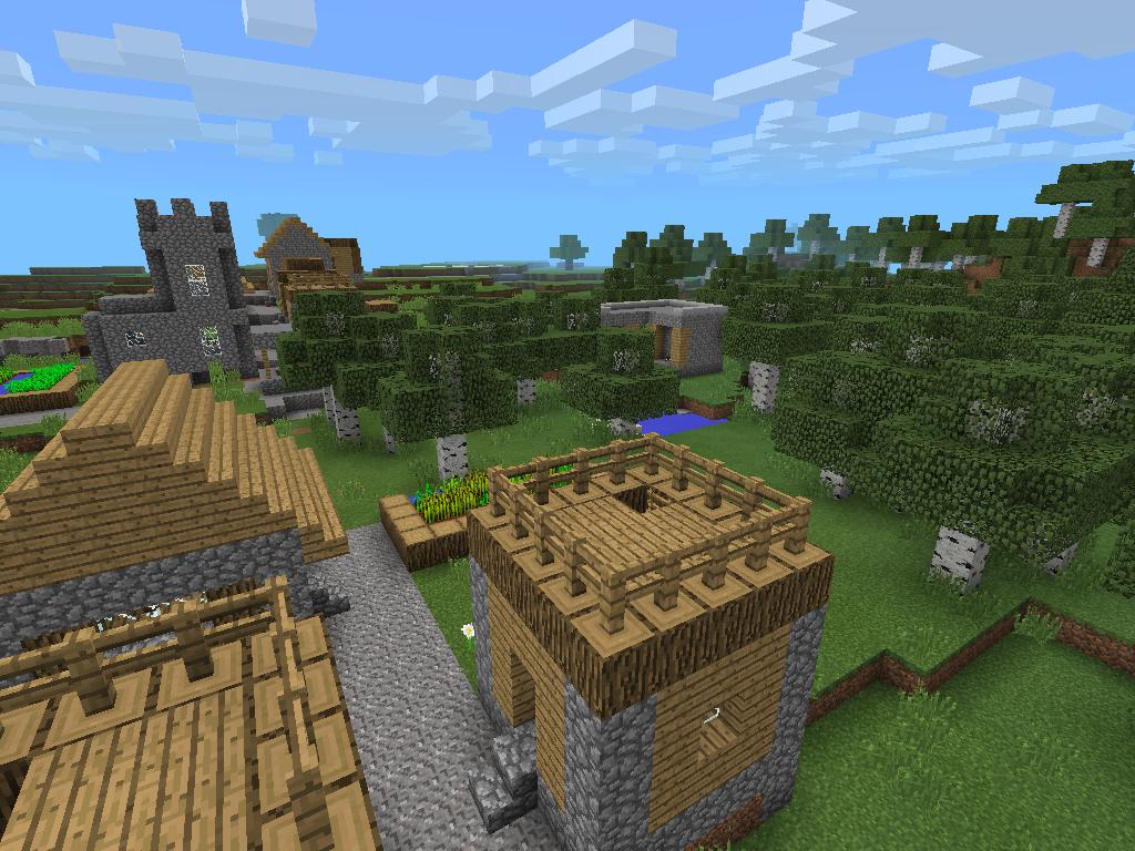 Village in Birch Forest at Spawn – MCPE Seeds: landscape